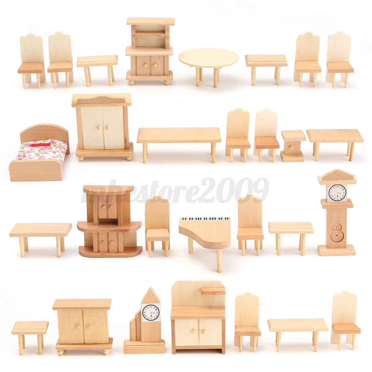 29pcs Set Dollhouse Miniature Unpainted Wooden Furniture Suite 1 24 Scale Model Ebay