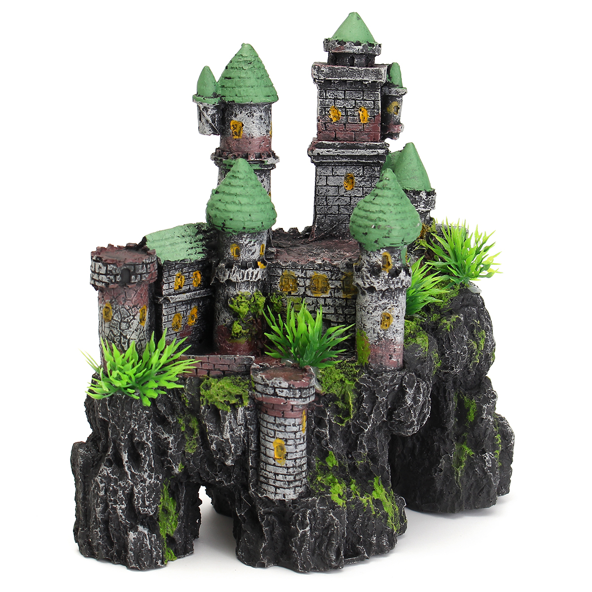 Aquarium resin medieval castle tower house fish tank for Aquarium house decoration