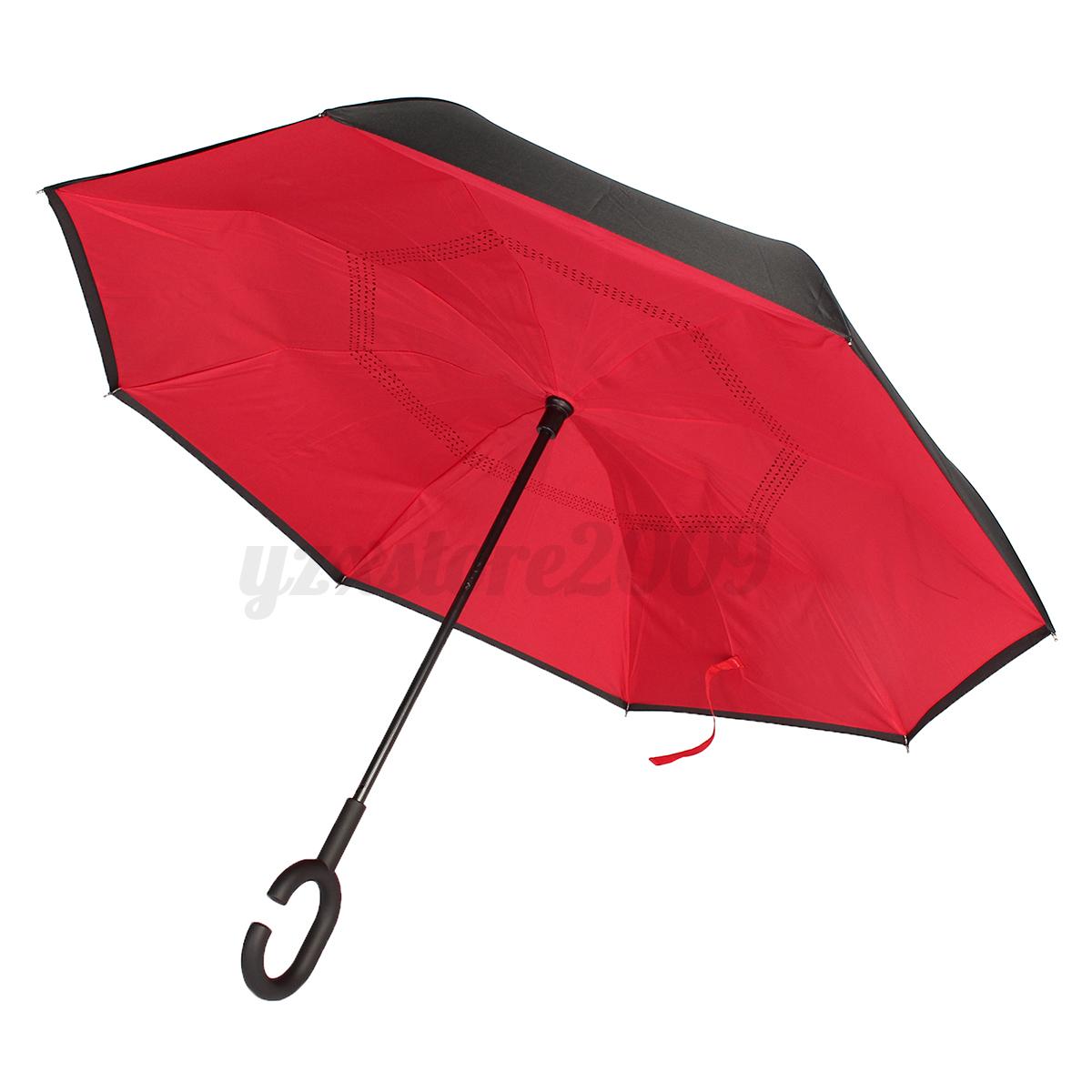 parapluie pluie soleil pliant double imprim invers anti soleil vent parasol ebay. Black Bedroom Furniture Sets. Home Design Ideas