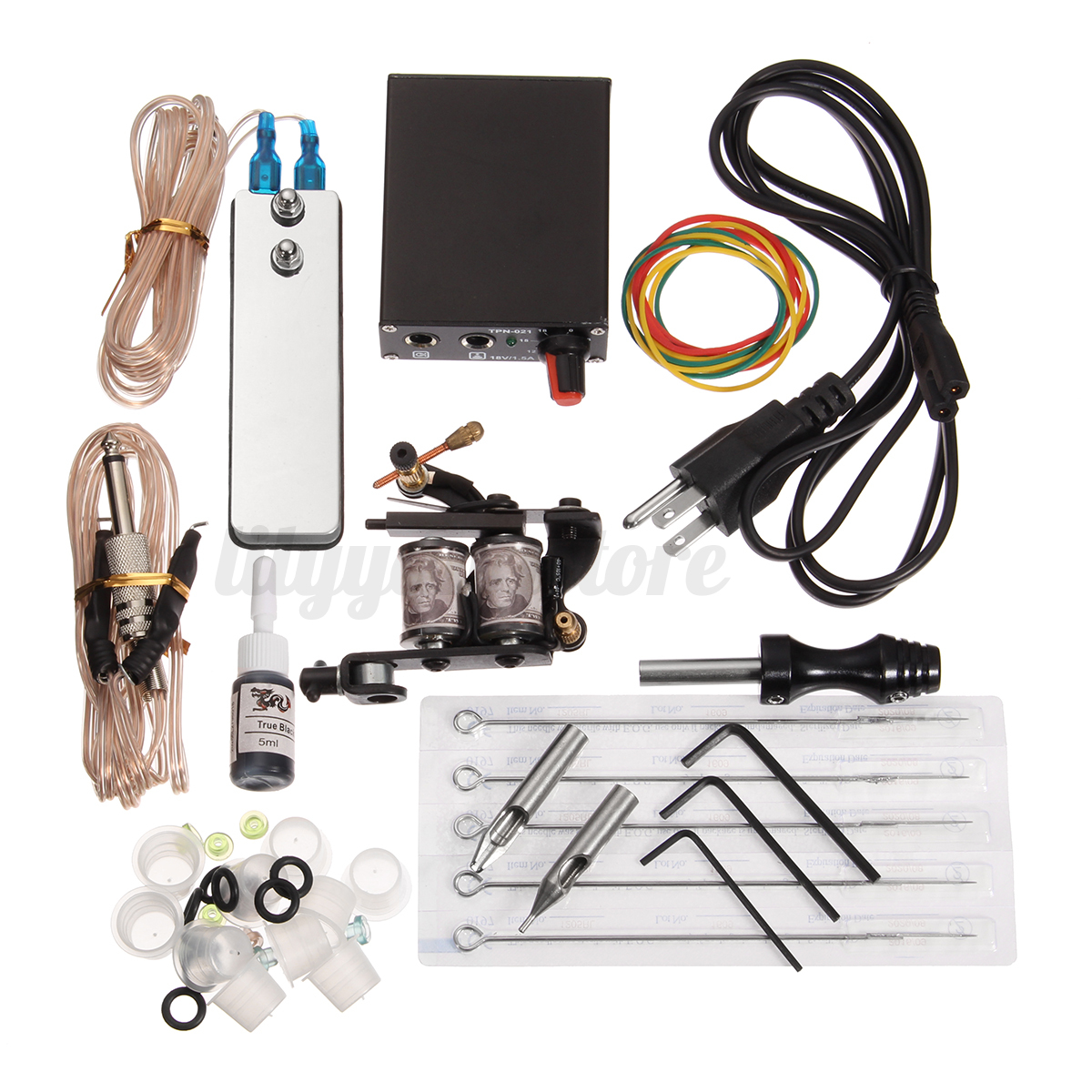 Complete tattoo kit tattoo machine guns set ink needles for How to set up a tattoo machine