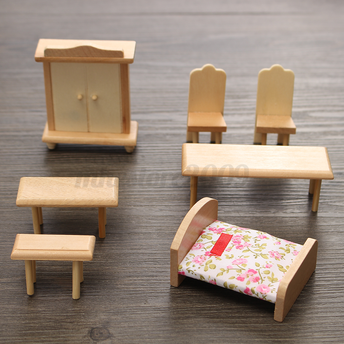 29 Pcs Set Dollhouse Miniature Unpainted Wooden Furniture Suite 1 24 Scale Model