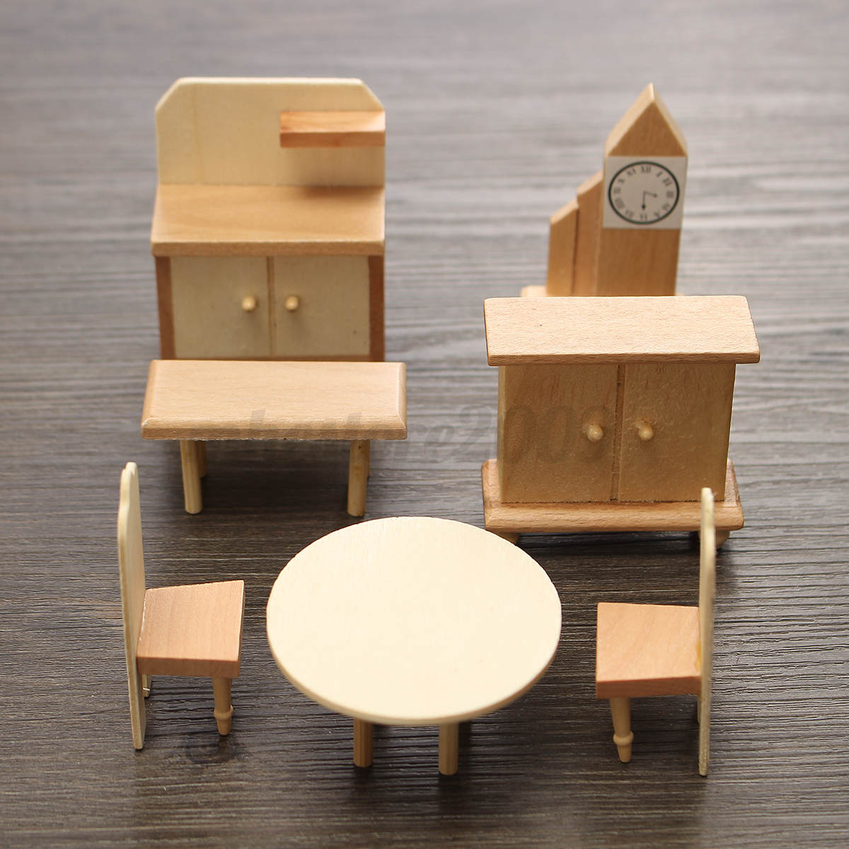29 Pcs Set Dollhouse Miniature Unpainted Wooden Furniture