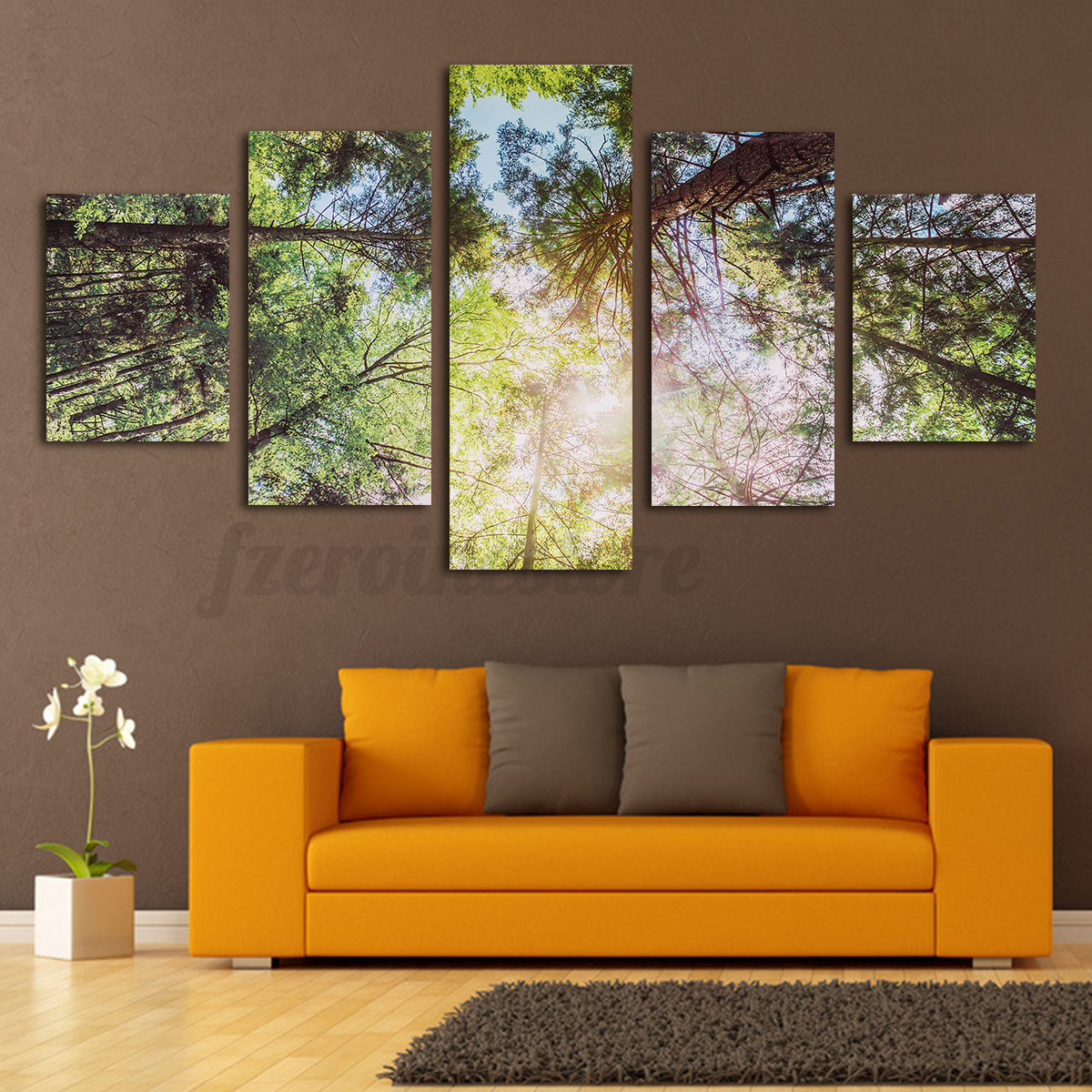5tlg xxl leinwand bilder kunstdruck wald sonnen wandbild bild wand modern deko ebay. Black Bedroom Furniture Sets. Home Design Ideas