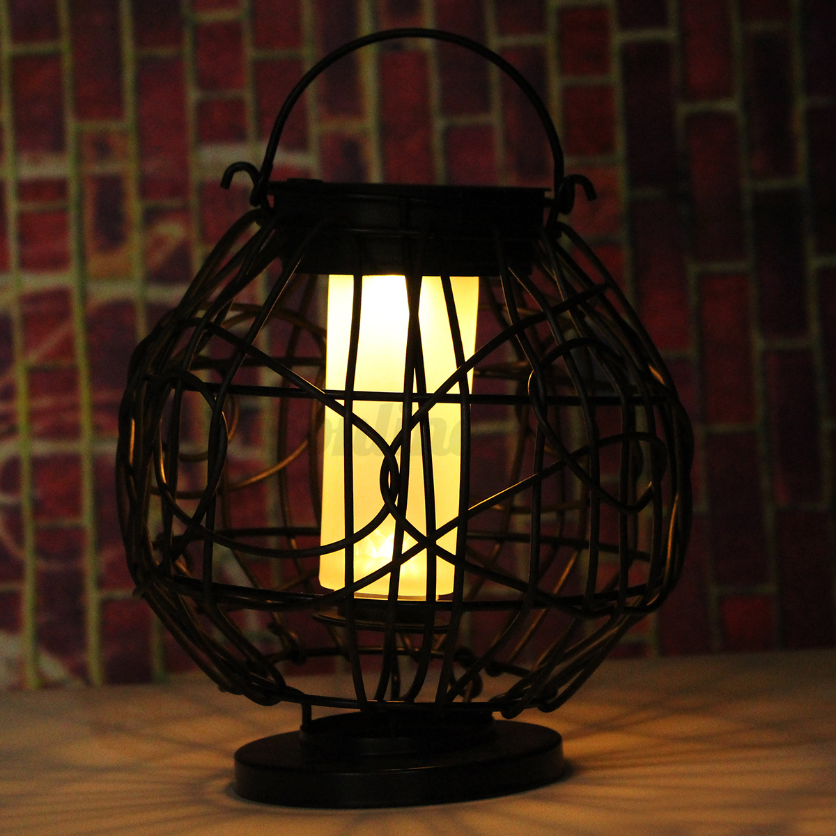 solar powered decorative lanterns led solar powered retro light iron cage lantern lamp metal 5594