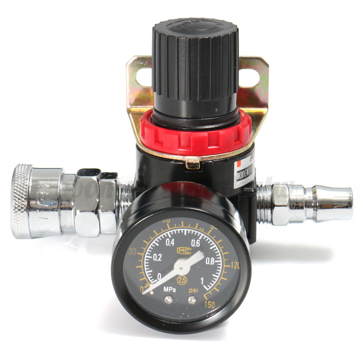 Air pressure regulator relief w gauge hose quick release