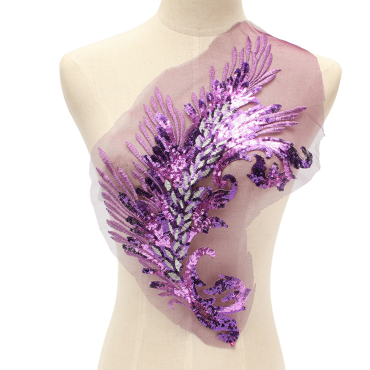 Embroidered sequins peacock feather applique sewing on