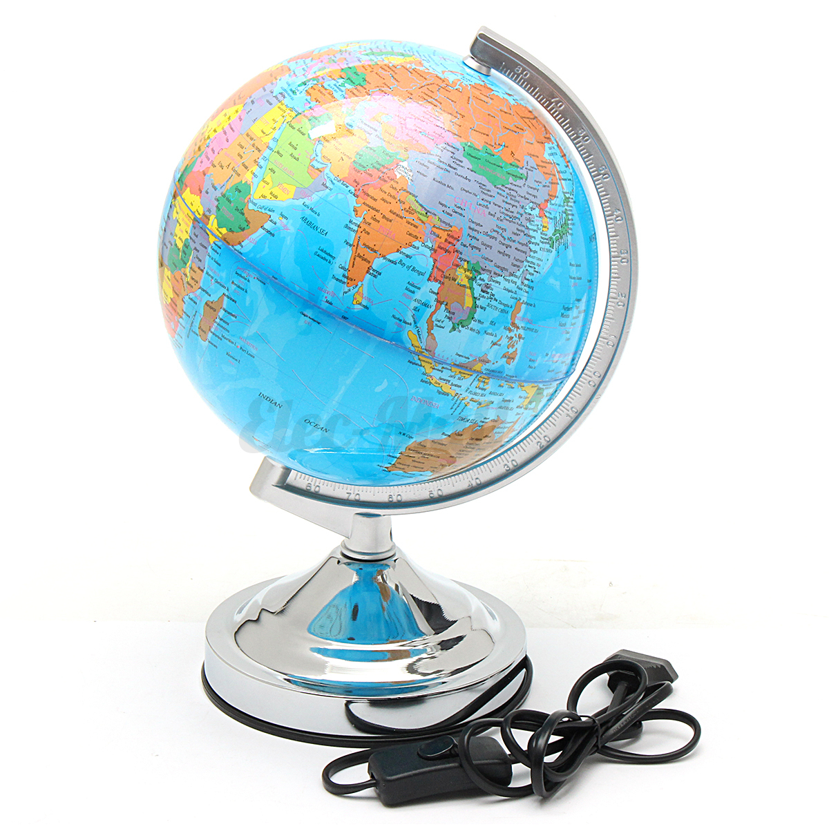 Wiring Table Lamp Earth In Light Lighting World Map A Quot Led Rotating Globe Desktop