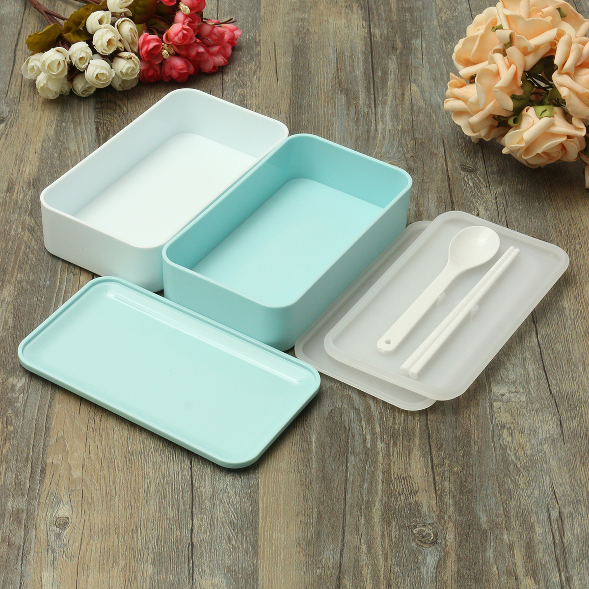 900ml 2 layer japanese lunch box picnic bento food container spoon chopstic ebay. Black Bedroom Furniture Sets. Home Design Ideas