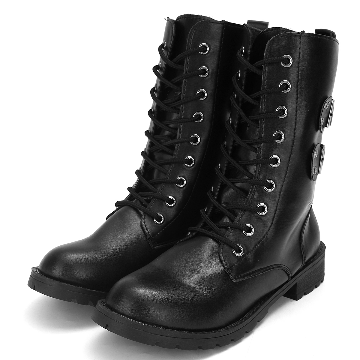 Cool Womens Combat Military Lace Up Flat Buckle Fashion Boots Faux Leather Shoes | EBay