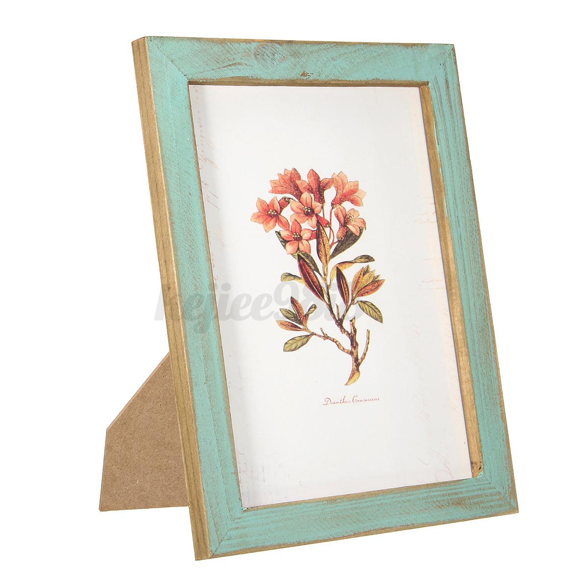 Vintage antique wood photo picture frame shabby desk for Picture frame hanging designs