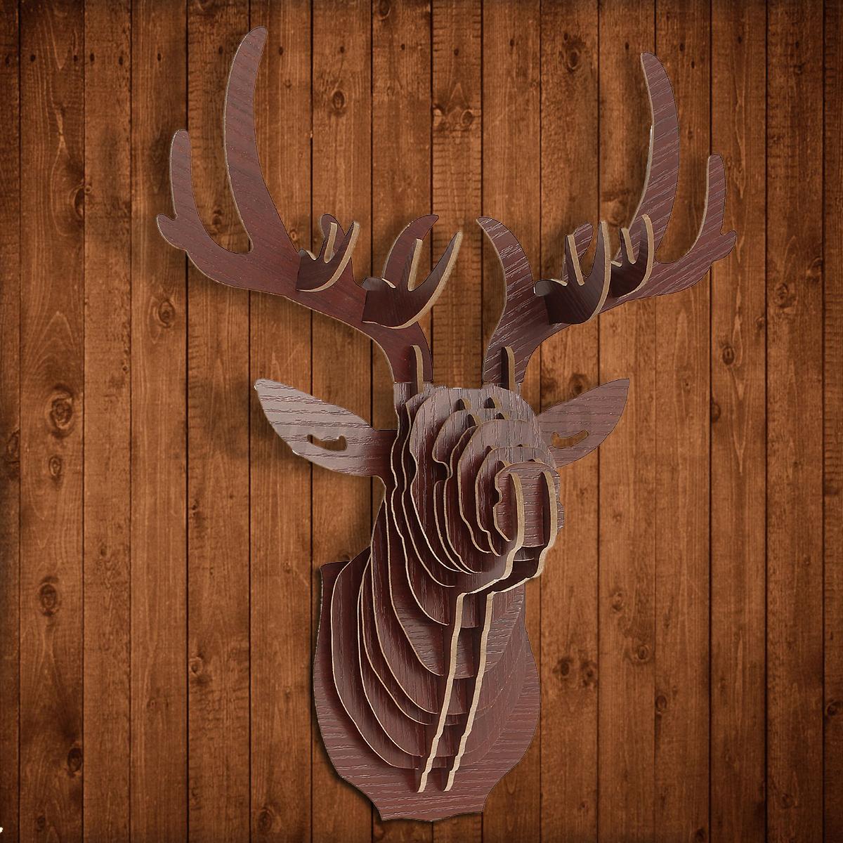 3d Wood Puzzle Model Elk Deer Head Animal Sculpture