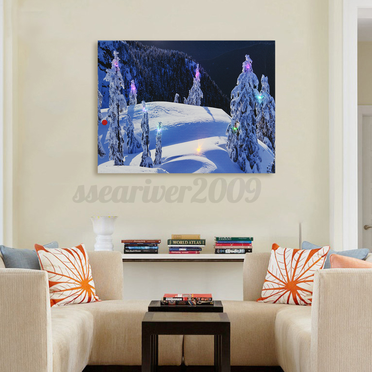 Hanging up wall decor : Winter snow canvas painting led light up pictures art home