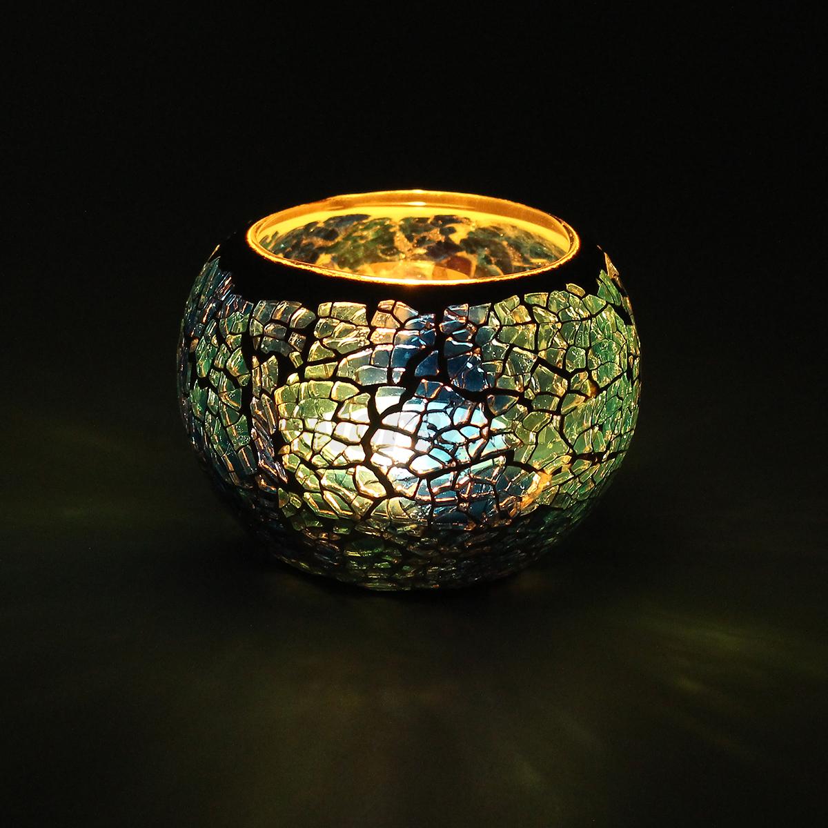 Mosaic Glass Candlestick Candle Holder Candelabra Romantic ...