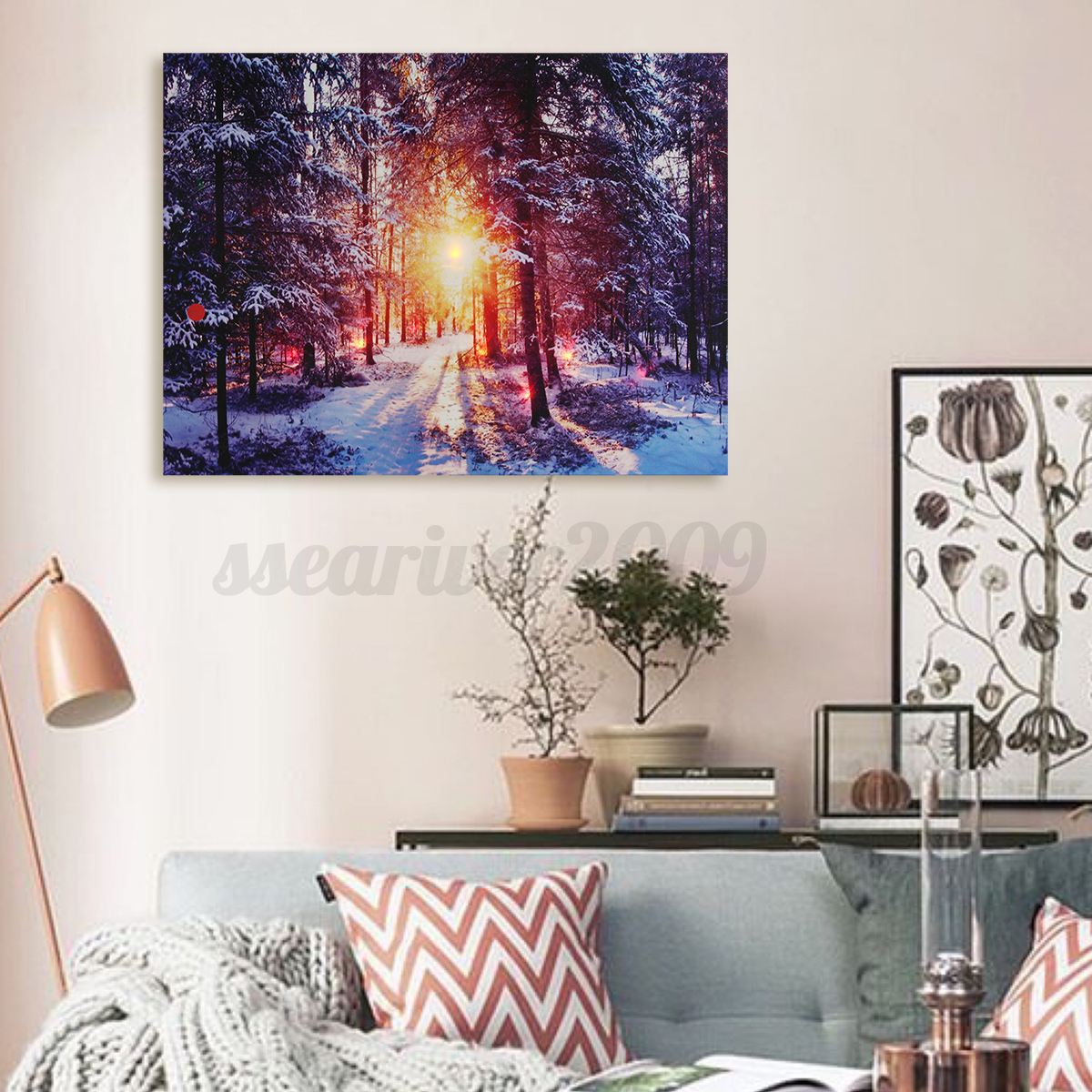 Led Wall Light Decor: Winter Snow Canvas Painting LED Light Up Pictures Art Home