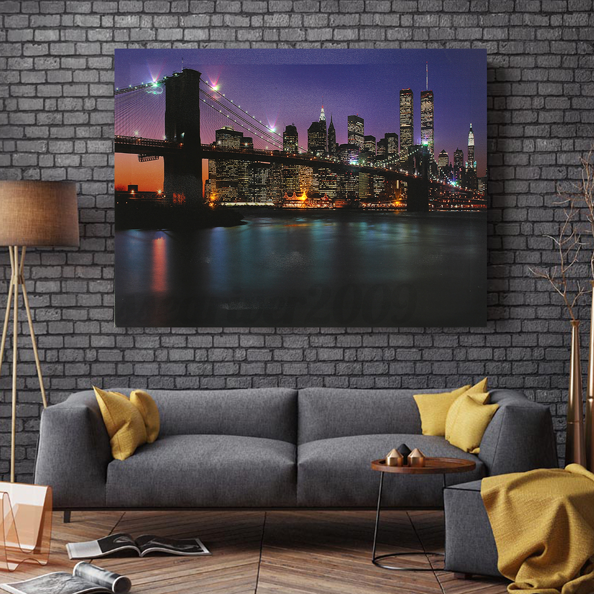 Bridge led light up canvas painting picture wall hanging for Picture wall decor