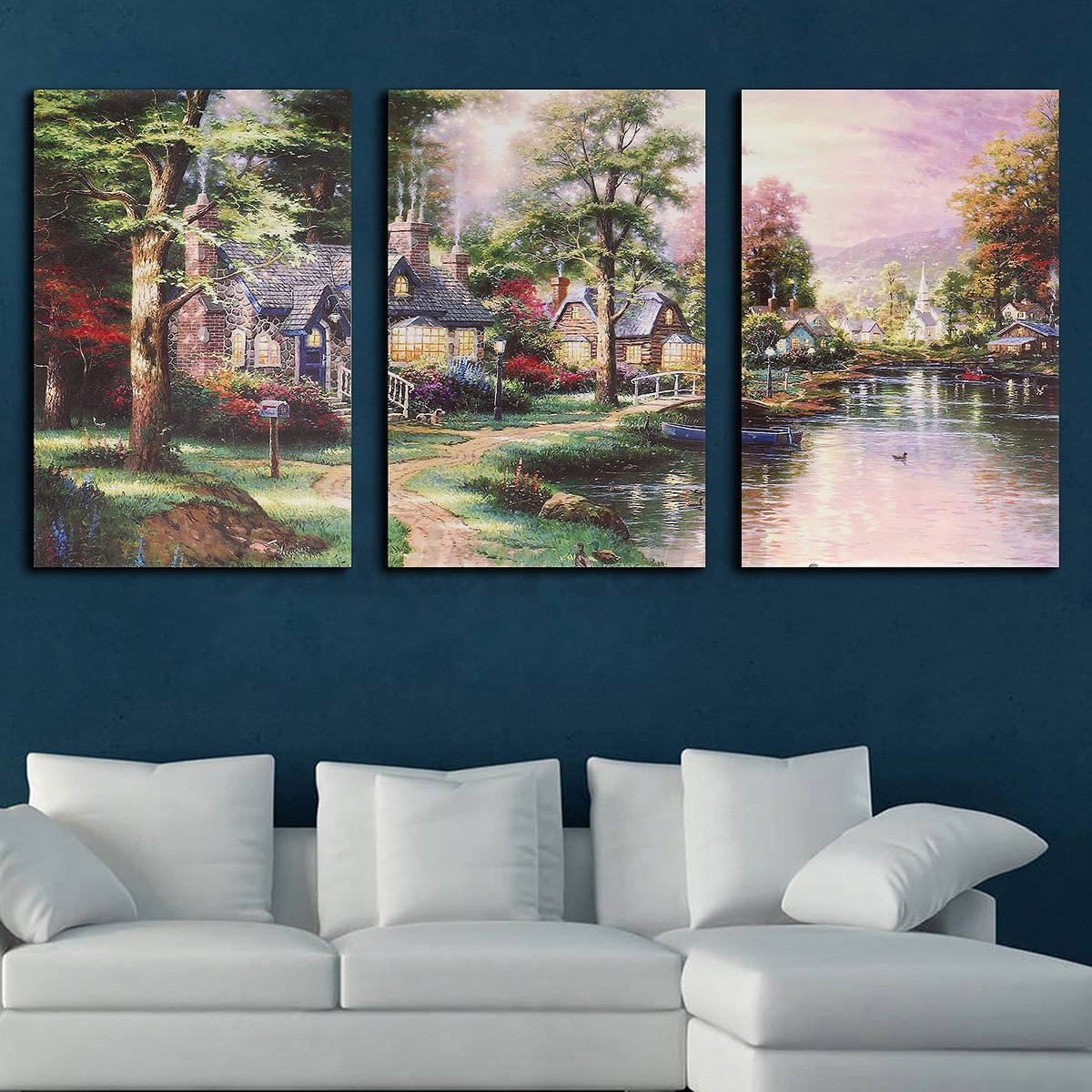 Modern Forest House: Nature Forest Modern Canvas Art Painting Picture Print