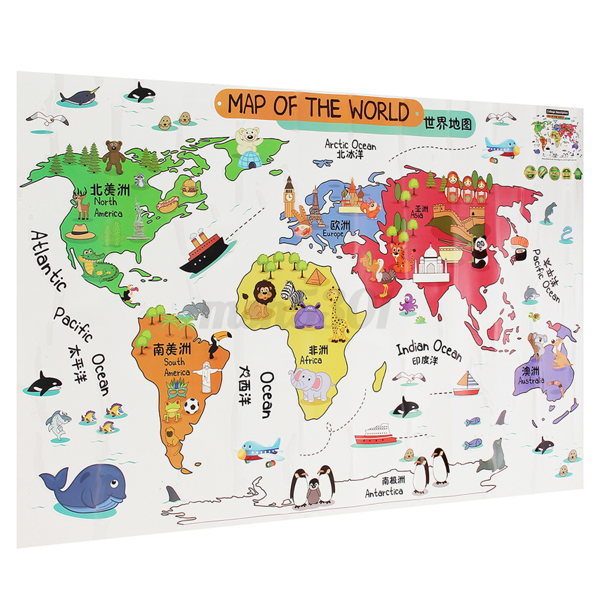 Wall stickers map of the world - Animals Colorful World Map Kids Bedroom Diy Wall Sticker Art Decal For Nursery