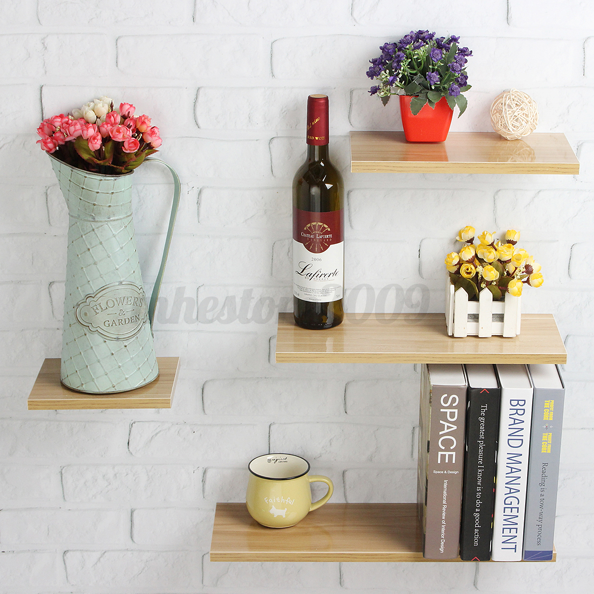 Contemporary Wall Shelves Decorative: Wood Floating Display Ledge Shelves Set Of 4 Wall Mount Shelf Modern Home Decor