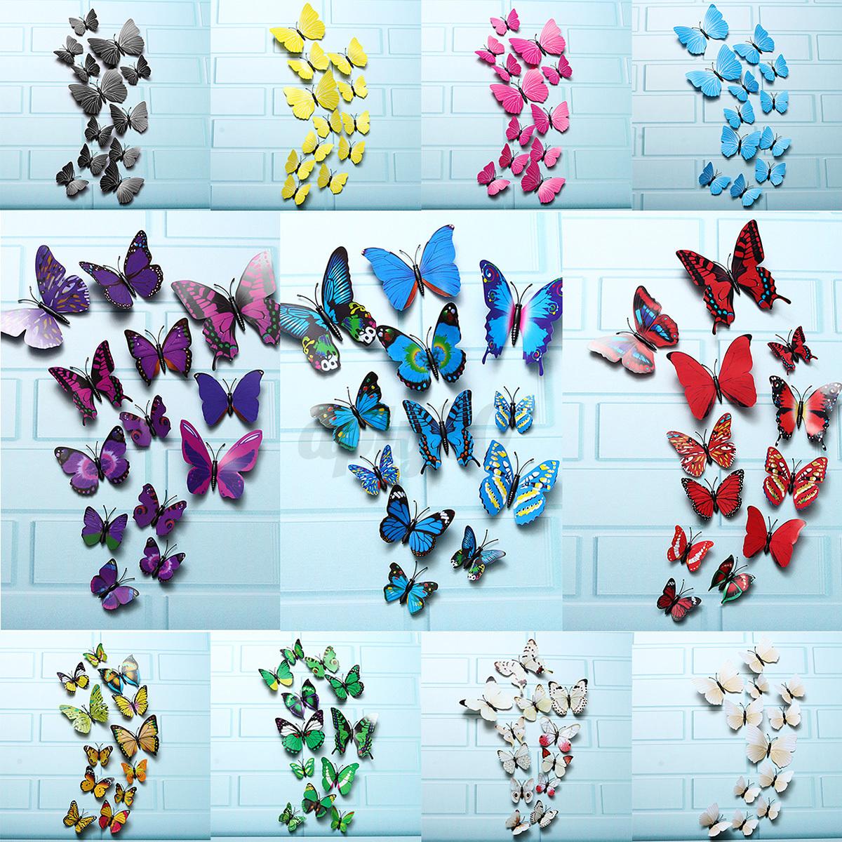 12pcs 3d mariposas pegatinas arte decoraci n de pared for Decoracion hogar 3d