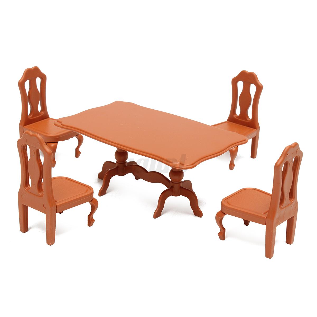 Table Plastic Miniature Doll House Furniture Set Living Room Kitchen Decoration