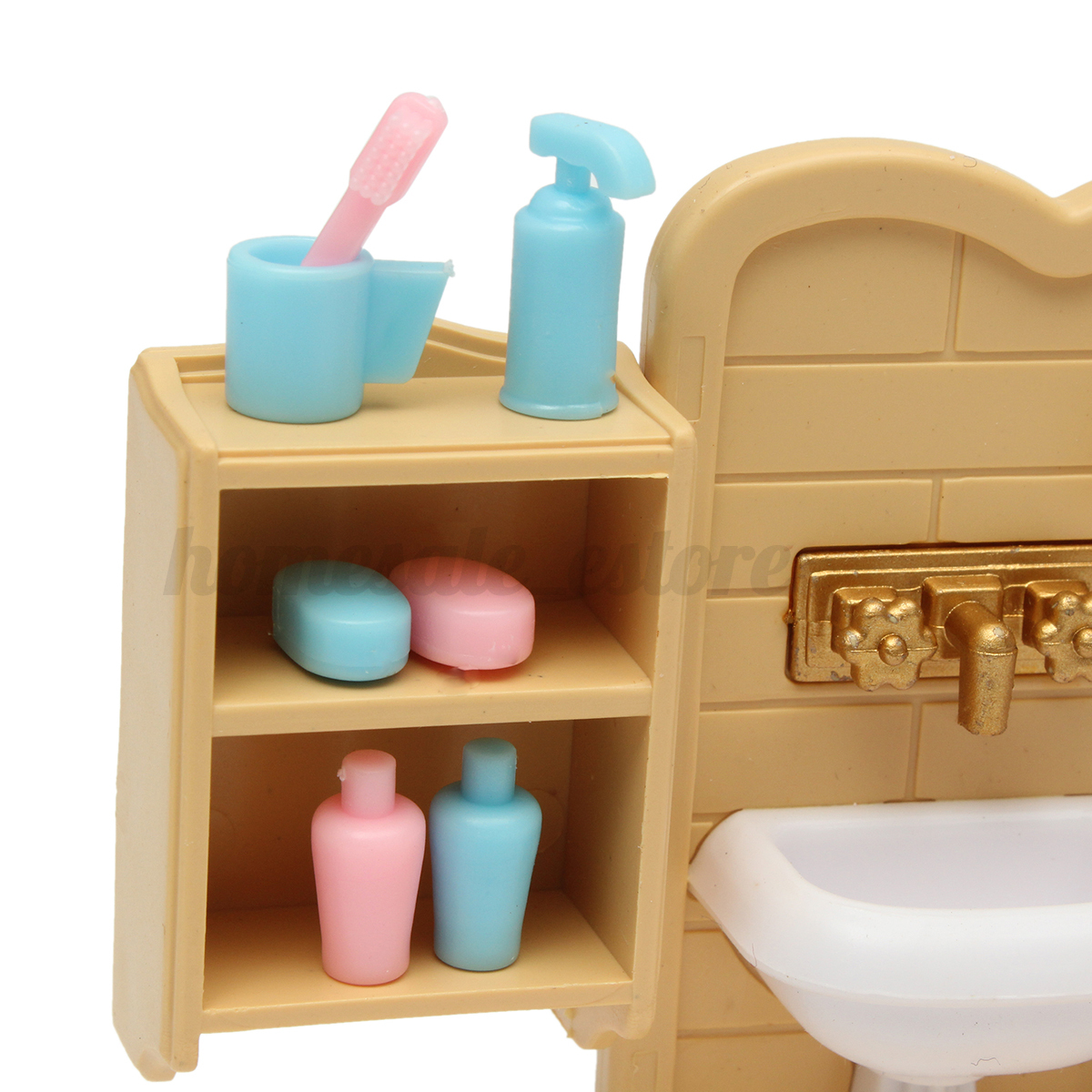 Plastic Bathtub Toilet Miniature Doll House Furniture Toy Set Bathroom Decor Ebay