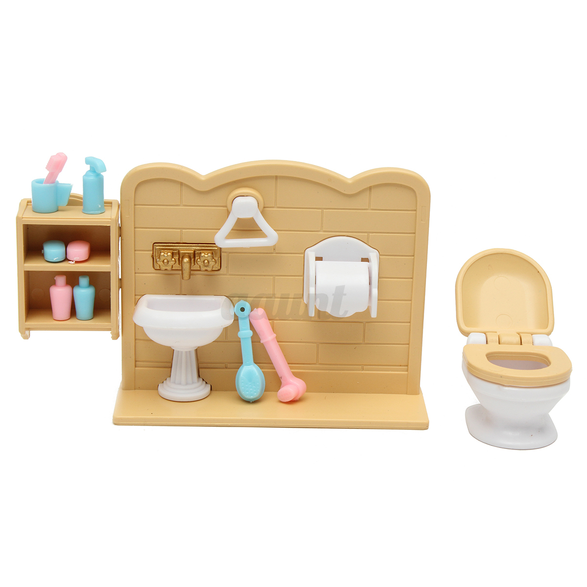 Plastic Bathtub Toilet Miniature Doll House Furniture Toy Set Bathroom Decor Auctions Buy And