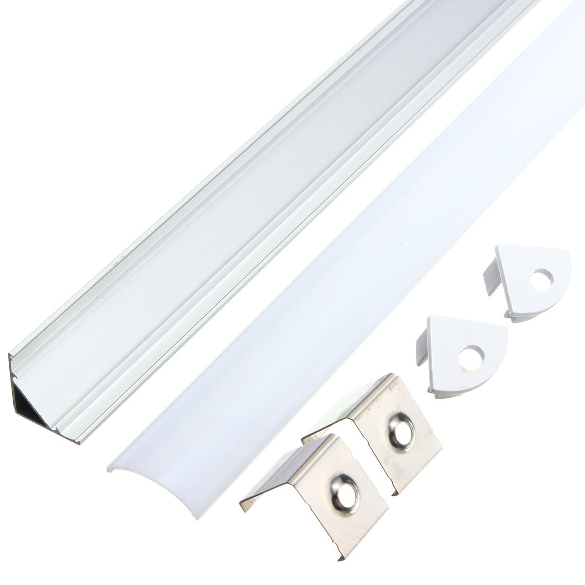 30-50cm-U-V-YW-Aluminum-Bar-Canal-Holder-Couverture-Pour-Bande-LED-Strip-Light