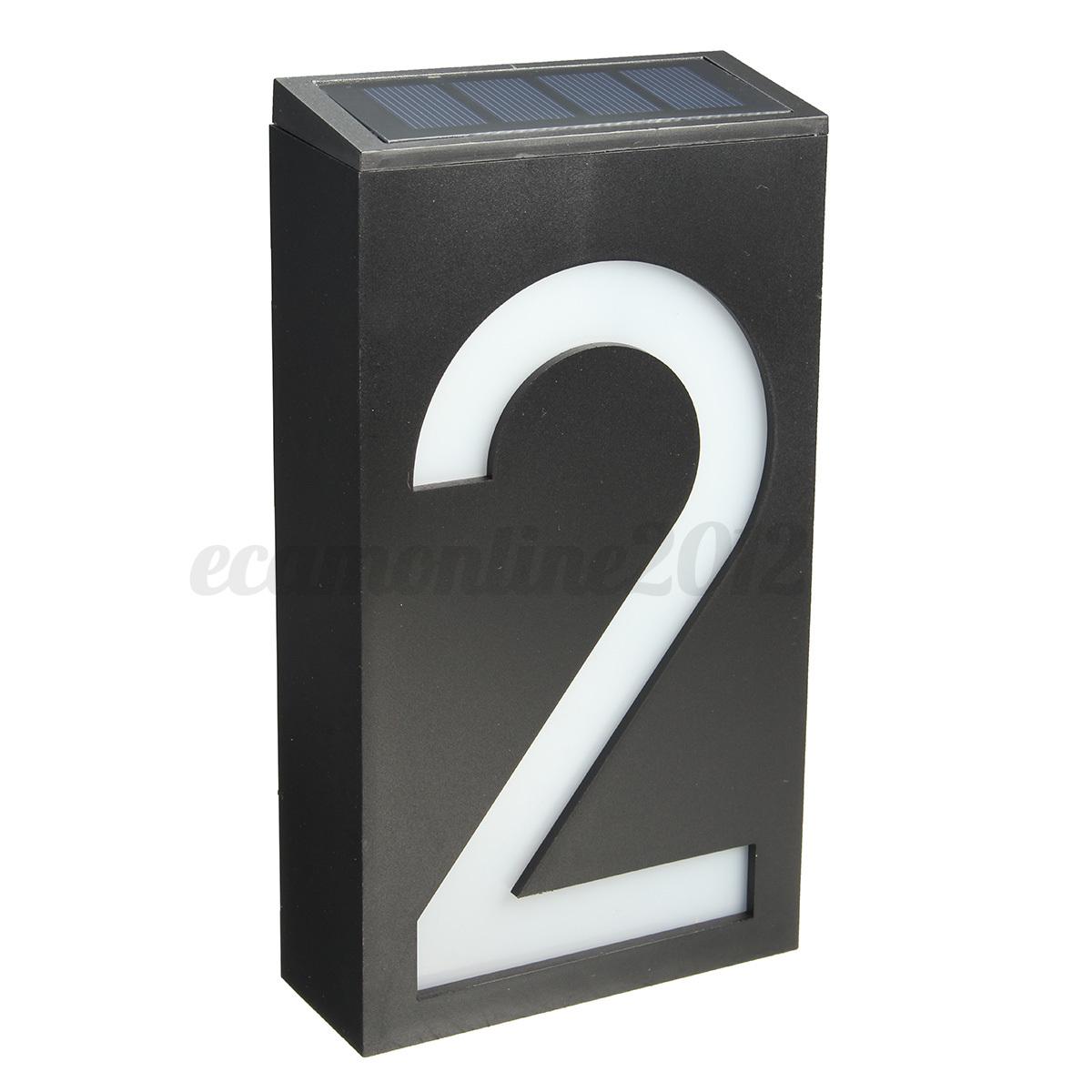 solar power 6 led number light sign house hotel door. Black Bedroom Furniture Sets. Home Design Ideas