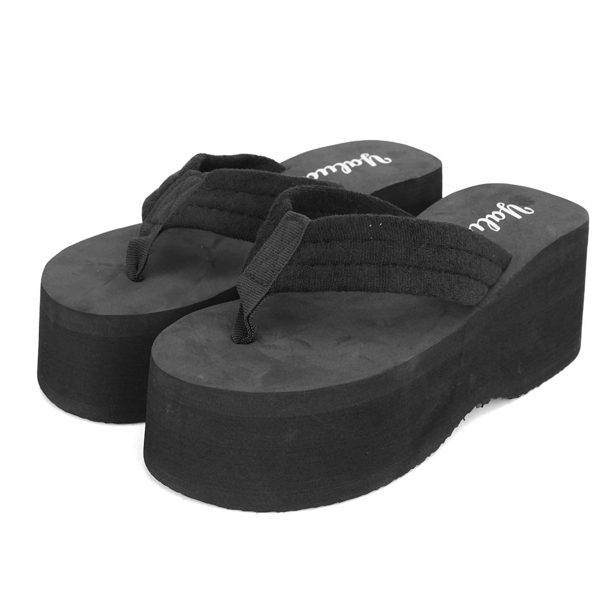 Platform Flip-Flops – Rubber High Heel Wedge Flip-Flop. Since making many feet happy! Wedge style (solid color, 1 ½ inch heel, unbranded, rubber, machine washable, non slippery): 11 Colors you can choose from: Black, White, Brown, Navy Blue, Sky Blue, .