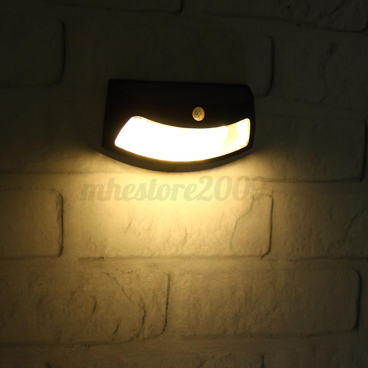 Waterproof LED Solar Step PIR Sensor Wall Light Garden Outdoor Lamp Warm White eBay