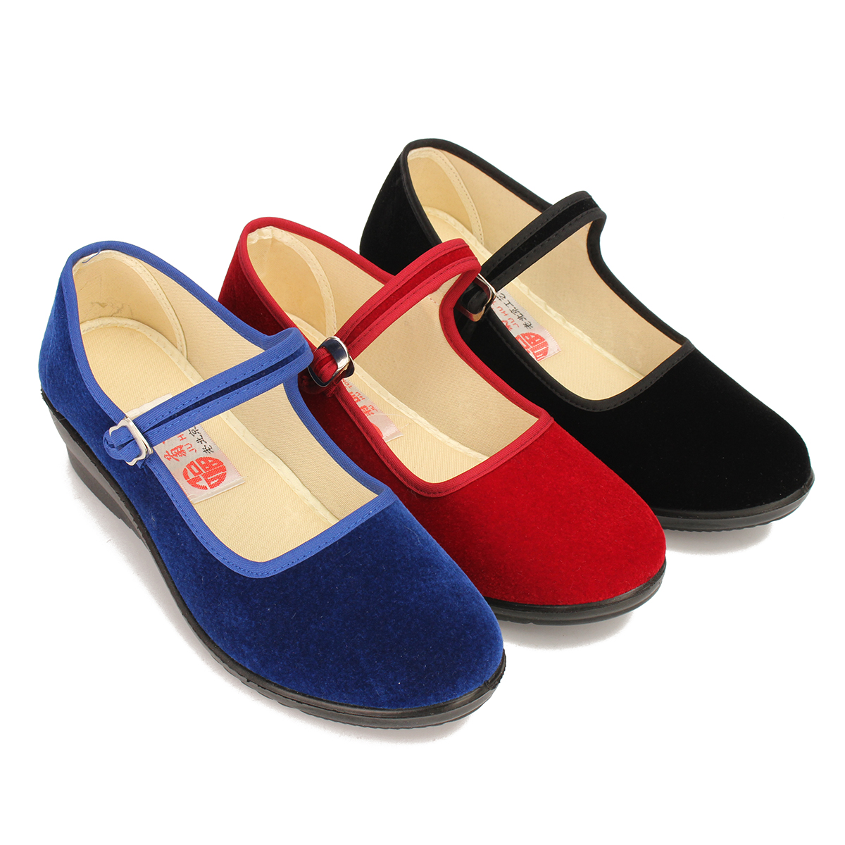 Women-039-s-Mid-Wedge-Heel-Mary-Jane-Hotel-Work-Strap-Ballet-Cotton-Buckle-Shoes thumbnail 5