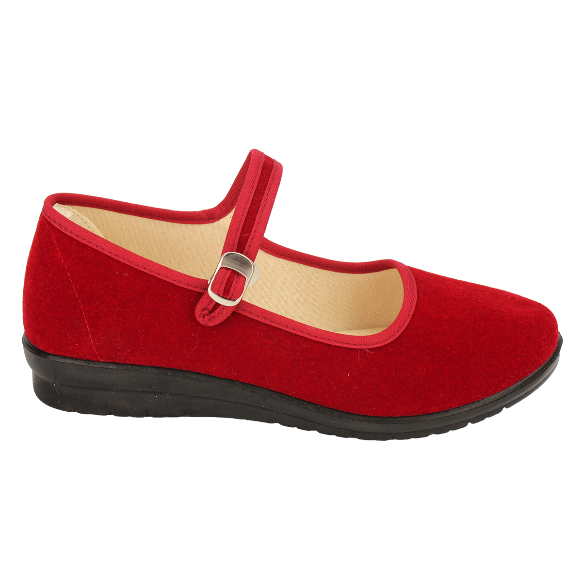 Women-039-s-Mid-Wedge-Heel-Mary-Jane-Hotel-Work-Strap-Ballet-Cotton-Buckle-Shoes thumbnail 12