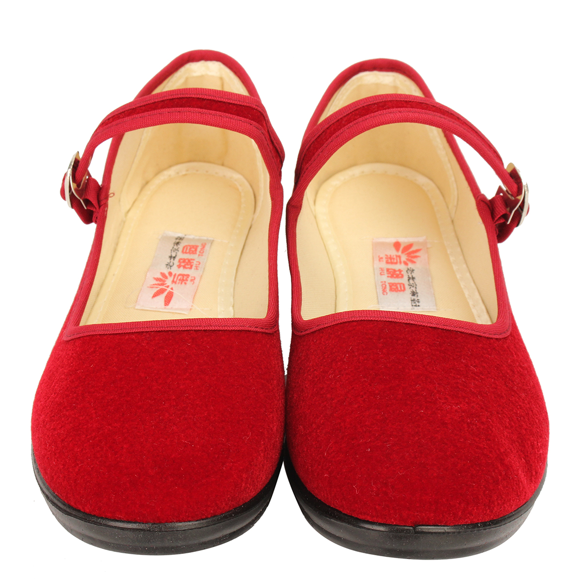 Women-039-s-Mid-Wedge-Heel-Mary-Jane-Hotel-Work-Strap-Ballet-Cotton-Buckle-Shoes thumbnail 11