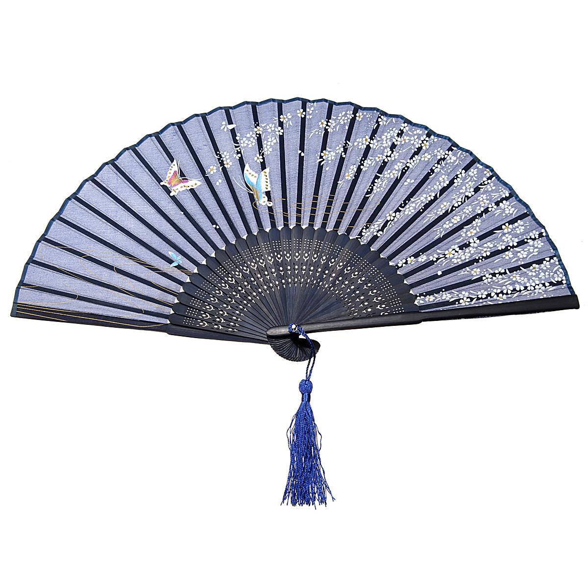 vintage chinese folding bamboo cloth hand held pocket fan. Black Bedroom Furniture Sets. Home Design Ideas